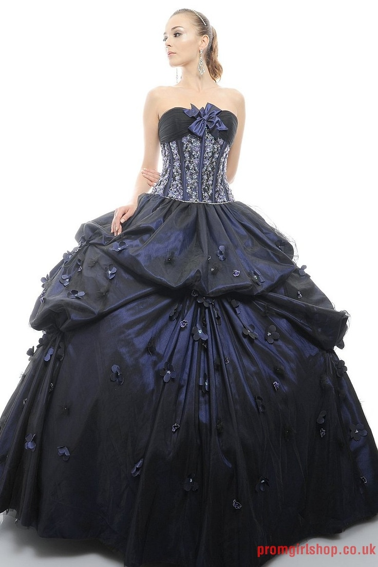 Elegant ball gown strapless blue lace satin black for Blue gothic wedding dresses