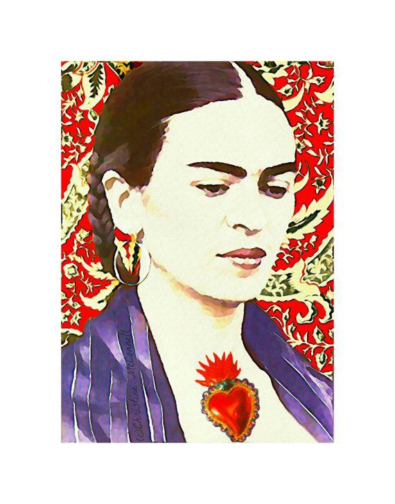 Frida Kahlo Suluboya Resim Yazdırma Stili Sable Karışık Medya Orijinal Fotomontaj Modern Ev Dekorasyonu için Küçük Poster Çingene Portre