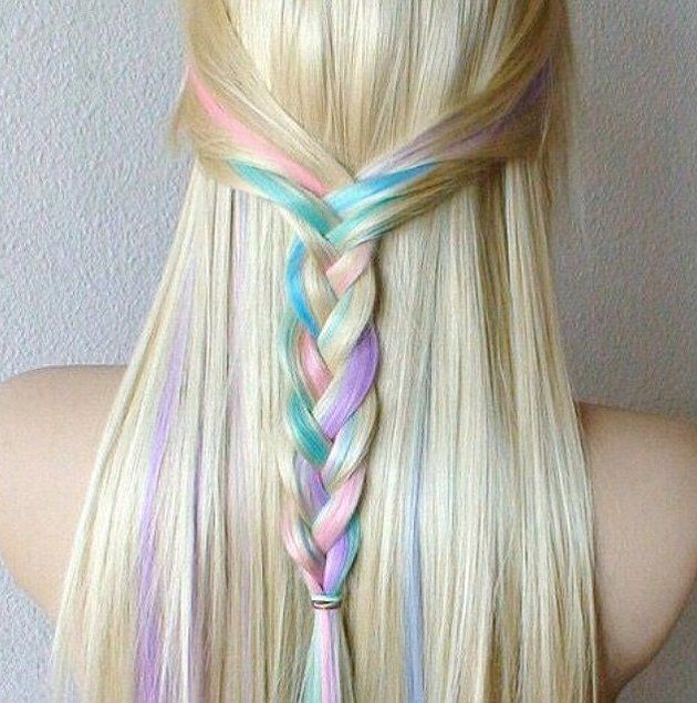 This blonde braid is the perfect Summer style. The pastel hair color adds an element of surprise to this half-up hairstyle.