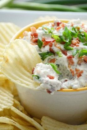 Crack Dip - your new go-to party dip!  Ingredients  16 ounces sour cream, regular or light1 package hidden valley ranch dip mix2 slices bacon, cooked and finely chopped, plus more for garnish1 cup shredded cheddar cheese1 scallion, sliced  Directions  Mix the sour cream, ranch dip mix, bacon bits and cheese together in a medium bowl. Cover and refrigerate 24 hours.Top with scallions and extra bacon. Serve with chips