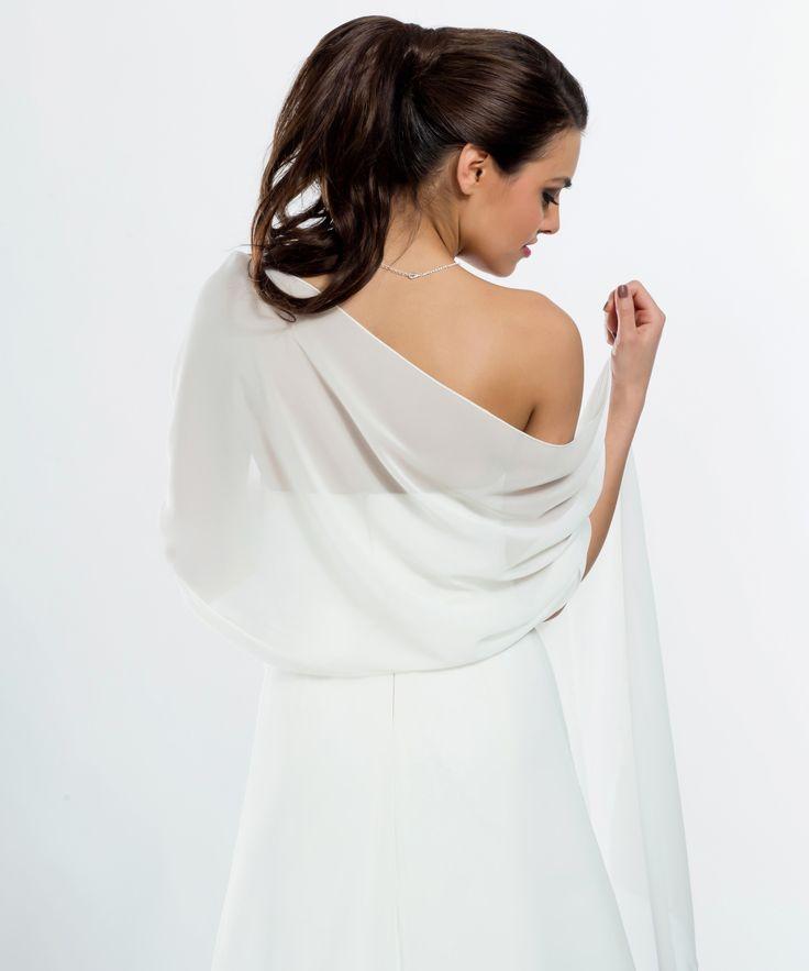 Prachtige chiffon sjaal (E9) geschikt voor elke gelegenheid.  Rechthoekig van vorm.<br /> <br /> Leverbaar in ivoor, wit en zwart<br /> Maat: 50 cm x 230 cm<br /> <br /> Levertijd: 1 - 2  werkdagen.