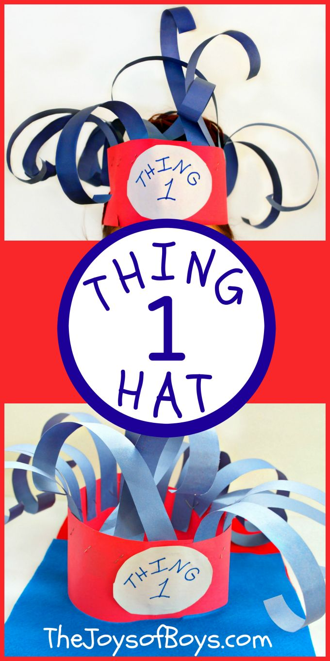 We love reading week but not so much dress up days.  This Thing 1 Hat was an easy Dr Seuss Dress-up Idea!