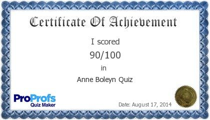 Score Report: Anne Boleyn Quiz at Free Online Quiz School