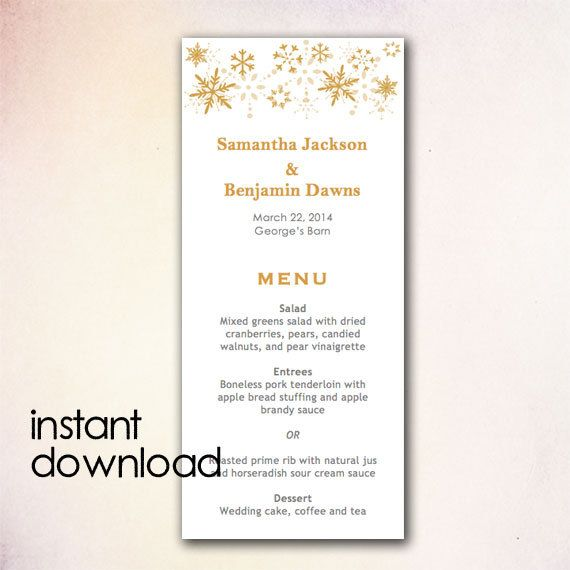 15 best DIY Wedding Menu Templates - Instant Download images on - menu template for word