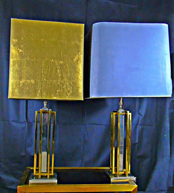Willy Rizzo desk lamp set of 2 brass chrome midcentury