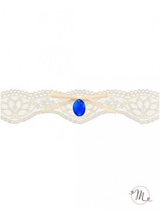 Giarrettiera Pizzo gemma blu. Materiale: pizzo e raso. Delicata ed elegante, è quel tocco di blu che non può proprio mancare. Misura: unica. In #promozione #matrimonio #weddingday #ricevimento #wedding #sconti #giarrettiera #giarrettiere #sconto #nozze