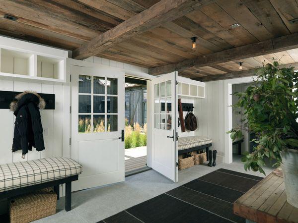 barnwood ceiling: The Doors, Tack Rooms, Mudrooms, Double Doors, Mud Rooms, Wood Ceilings, House, White Wall, Wood Beams
