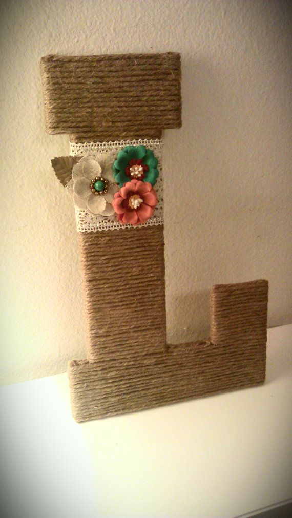 Burlap Wrapped Letter 'L with Lace Flowers & by MadeWithLoveByLori, $25.00