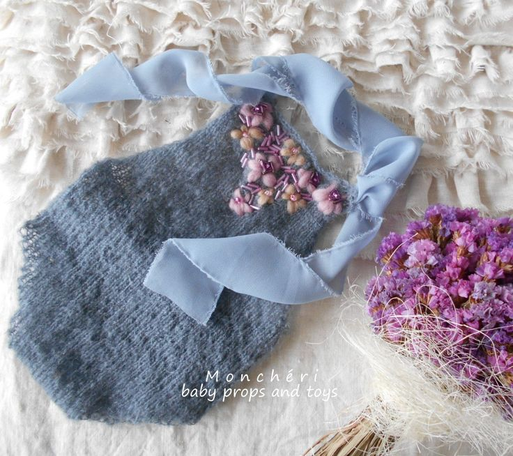 Blue and violet embroidery romper - baby props by pavlucha on Etsy