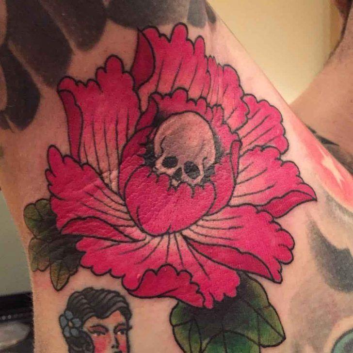 Skull Flower Tattoo on Armpit