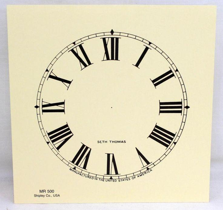 """Seth Thomas Clock Co. Paper Clock Face Dial  Shipley Co. USA MR 500 5"""""""