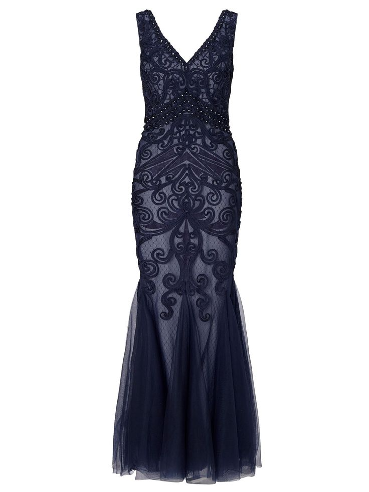 1920s Dresses for Sale in the UK Ariella Dallas beaded mesh maxi with tapework Navy £395.00 AT vintagedancer.com