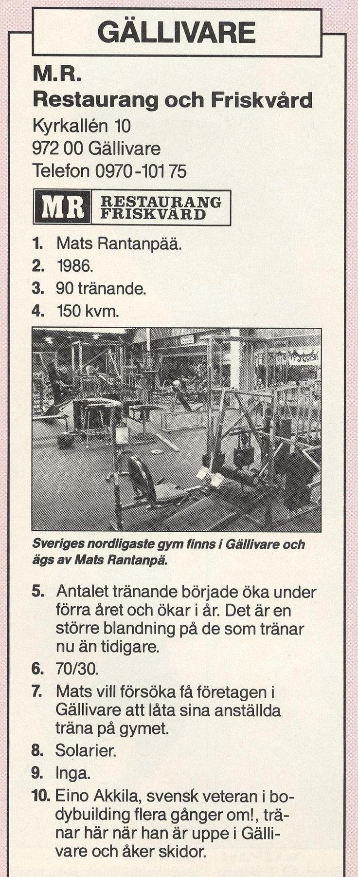 Sweden Gällivare - MR Restaurang och Friskvård 1987