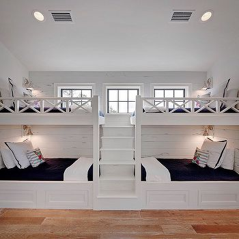 Best 25 white bunk beds ideas on pinterest built in bunkbeds bunkbeds for small room and - Boys basement bedroom ...
