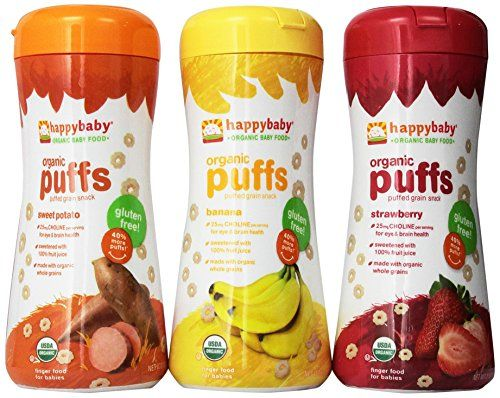 Happy Baby Organic Puffs 21 Oz Mixed 3 Pack 1 Strawberry 1 Bananna 1 Sweet Potato * For more information, visit image link.