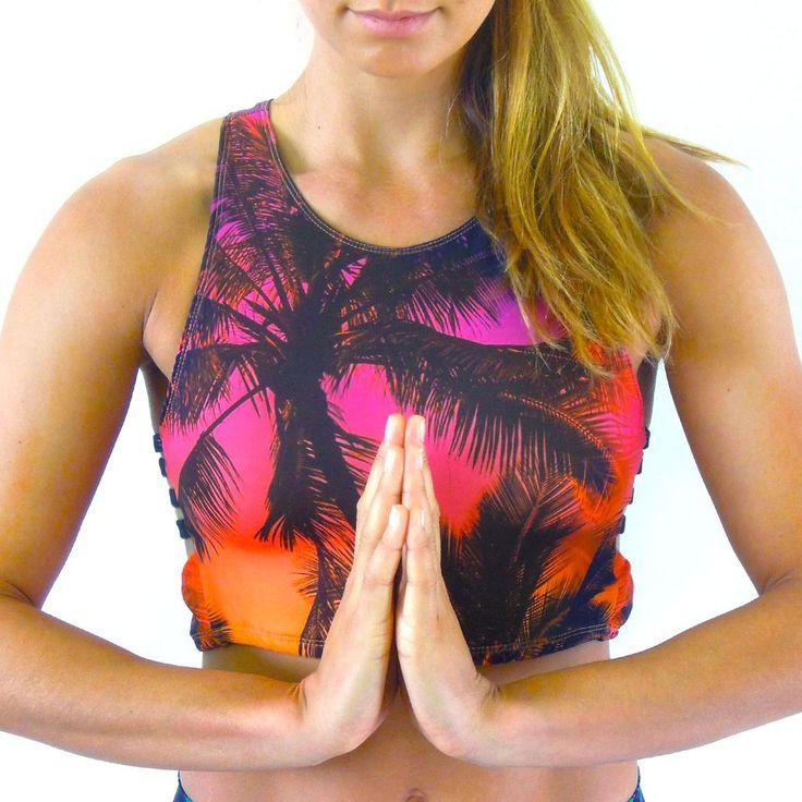 Island Sunset Swim/Yoga Tank by www.spiritgirlsa.com Palm tree print, tropical print.