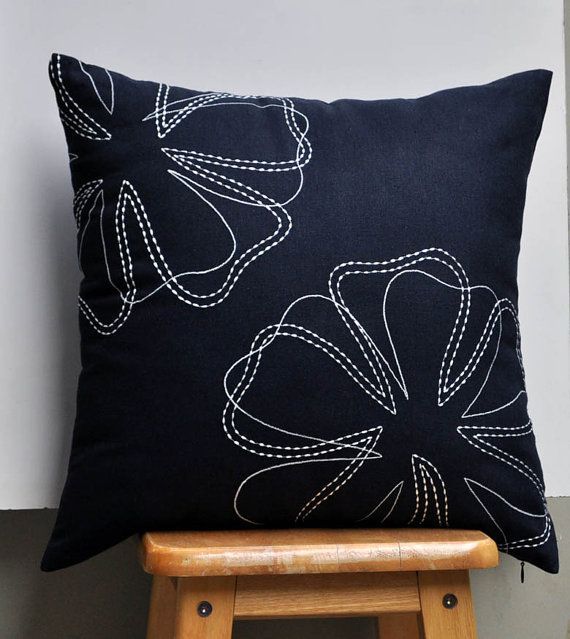 "Daisy Flower Throw Pillow Cover - 18"" x 18"" - Blue Black Linen with Off White Floral Embroidery"