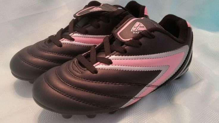 NEW Girls Soccer Cleats Youth Sz 4 1/2 US Vizari Bk/Pink Moulded Rubber Hearts  #Vizari