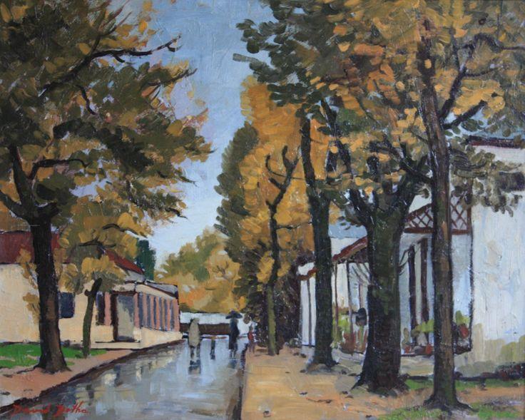 David Botha (1921-1995) 'Walking in the rain', 1964