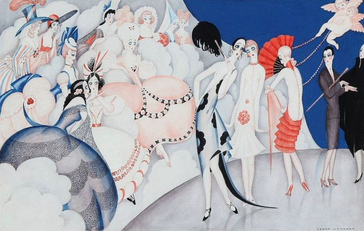 Gerda Wegener (1886-1940, Danish), 1920s, Modeopvisning for Fortidens Damer (Fashion show for the ladies of the past).