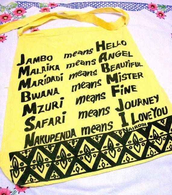 Vintage Apron  Nairobi Kenya  Swahili Words & by therecyclingethic