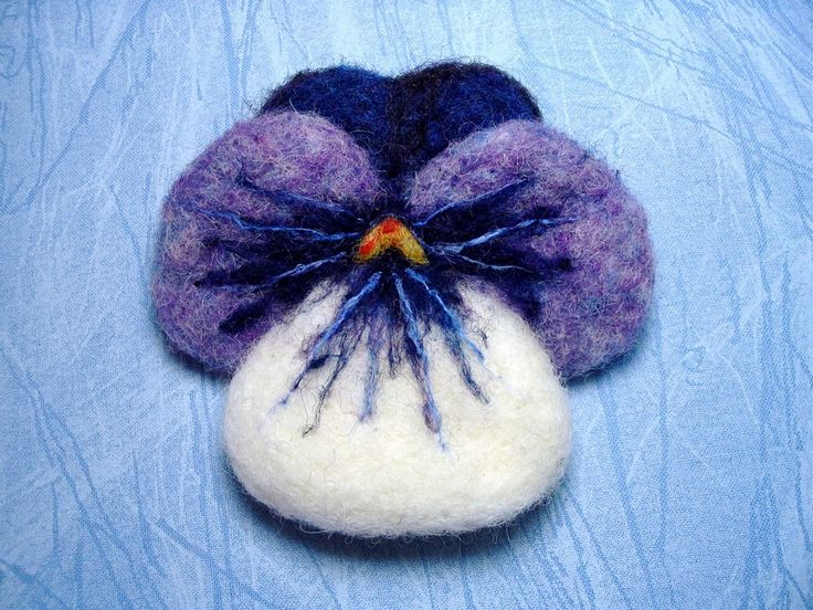 Easy Needle Felting Patterns   Wool Needle Felted Pansy Brooch Pin PATTERN by barby303 on Etsy