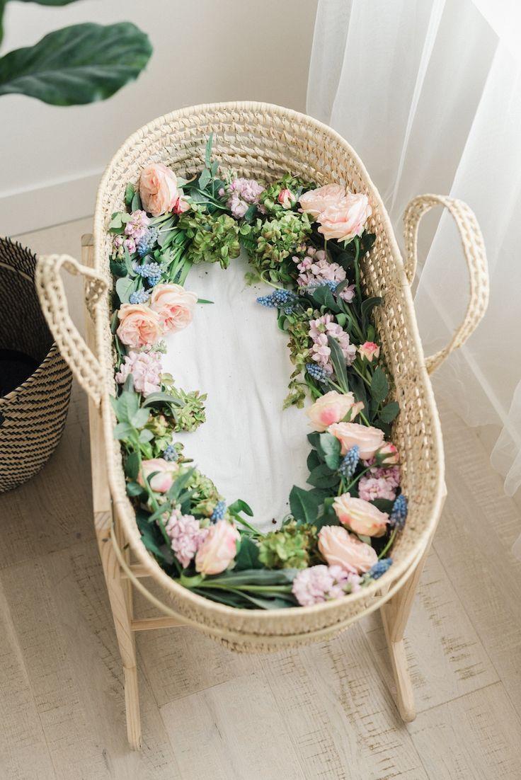 Spring Floral Newborn Pictures, Dreamy Floral Newborn Photos, Utah Wedding Florist Calie Rose, Moses Basket with Flowers