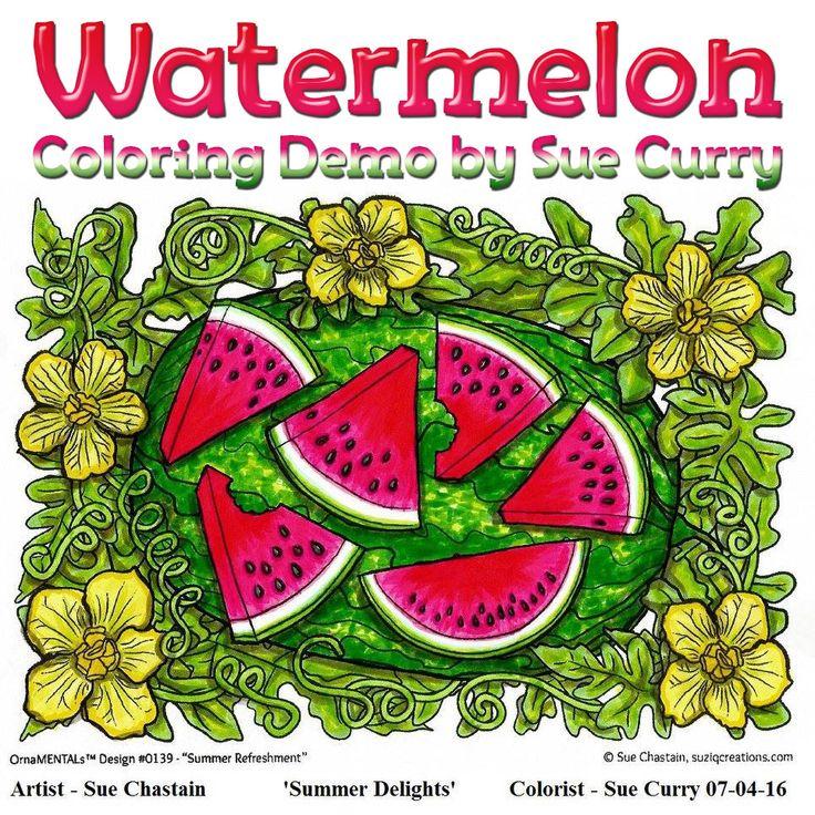 Watermelon Coloring Progression by Sue Curry Color