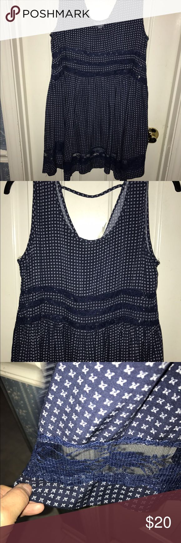 NWT- BLU PEPPER Blue sundress. See through lace. NWT-  BLU PEPPER- Above-the-knee sleeveless Navy blue/White sundress. Size-M. Open back. See through lace at waist and hem. Lace/cotton. Blu Pepper Dresses Mini