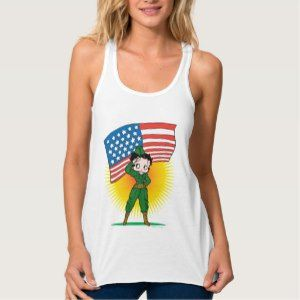 Patriotic Betty Boop Army Flowy Racerback Tank Top Get Personal with #BettyBoop  - Personalized clothing, cards and gifts!! #streetstyle http://leahg.me/get-personal-with-betty-boop-personalized-clothing-cards-and-gifts/