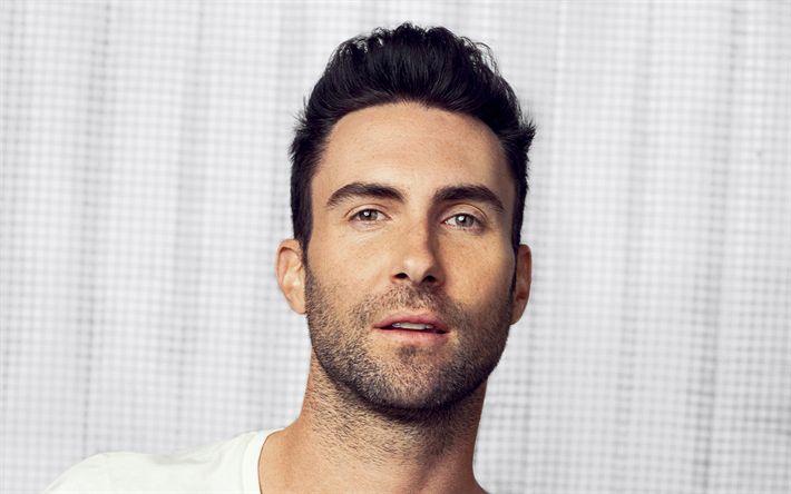 Hämta bilder Adam Levine, Porträtt, vit t-shirt, vackra män, Amerikansk sångerska