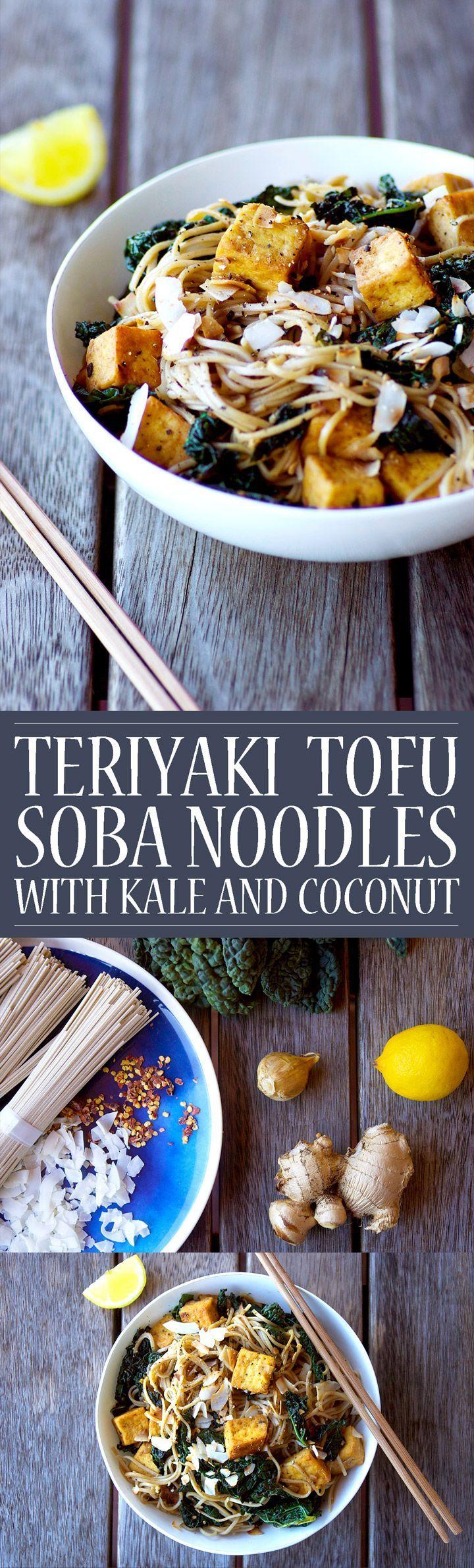 Teriyaki Tofu Soba Noodles with Kale and Coconut! Vegan, gluten free, grain free