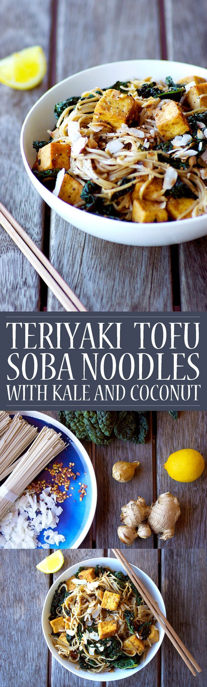 Teriyaki Tofu Soba Noodles with Kale and Coconut! Vegan, gluten free, grain free