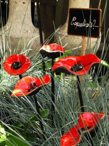 Coquelicot Rouge - Fleur de coquelicot rouge émaillée en céramique Raku
