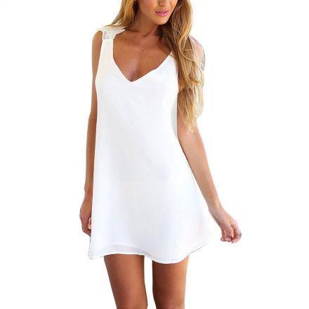 ZANZEA Vestido corto sin mangas playa sexy gasa mujeres - Blanco