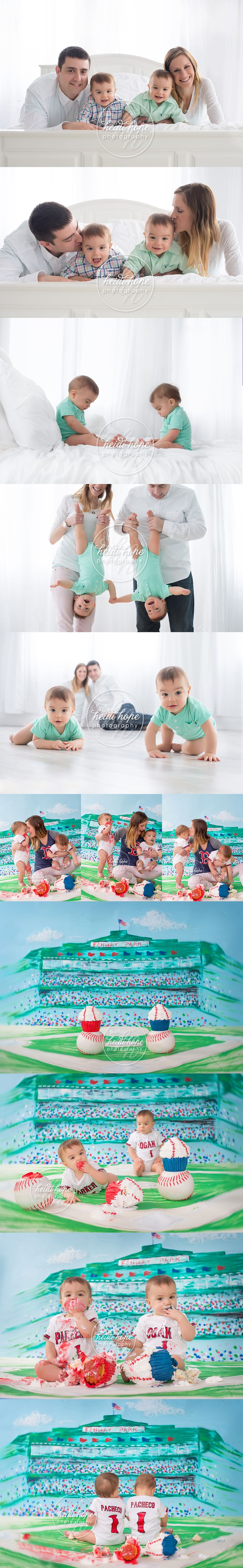 twin boy first birthday cakesmash with fenway baseball background