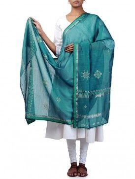 Green Cotton Maheshwari Kasuti Embroidered Dupatta