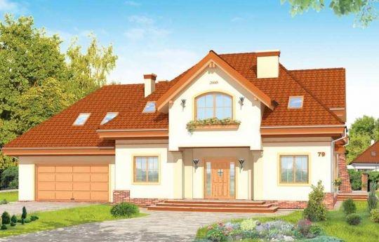 Projekt Edyta to wygodny dom jednorodzinny dla rodziny 4-5 osobowej. Posiada rozbudowaną częścią garażową ze strychem, która może być wykończona w późniejszym etapie. Budynek zaprojektowano na planie prostokąta przekrytego wielospadowym dachem z dużymi lukarnami. Do domu dobudowana jest część garażowa, z dużym strychem do dowolnego wykorzystania.