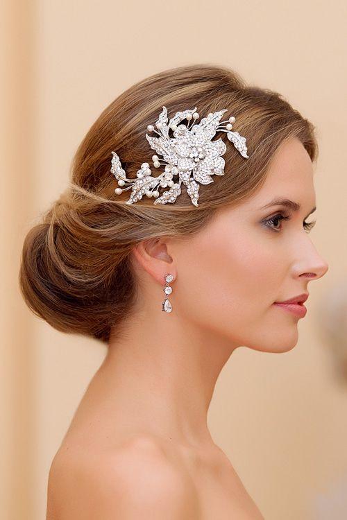 Elegant bridal up-do adorned with Trailing Petals Headpiece from Glitzy Secrets