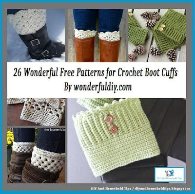 DIY And Household Tips: 26 Wonderful Free Patterns for Crochet Boot Cuffs