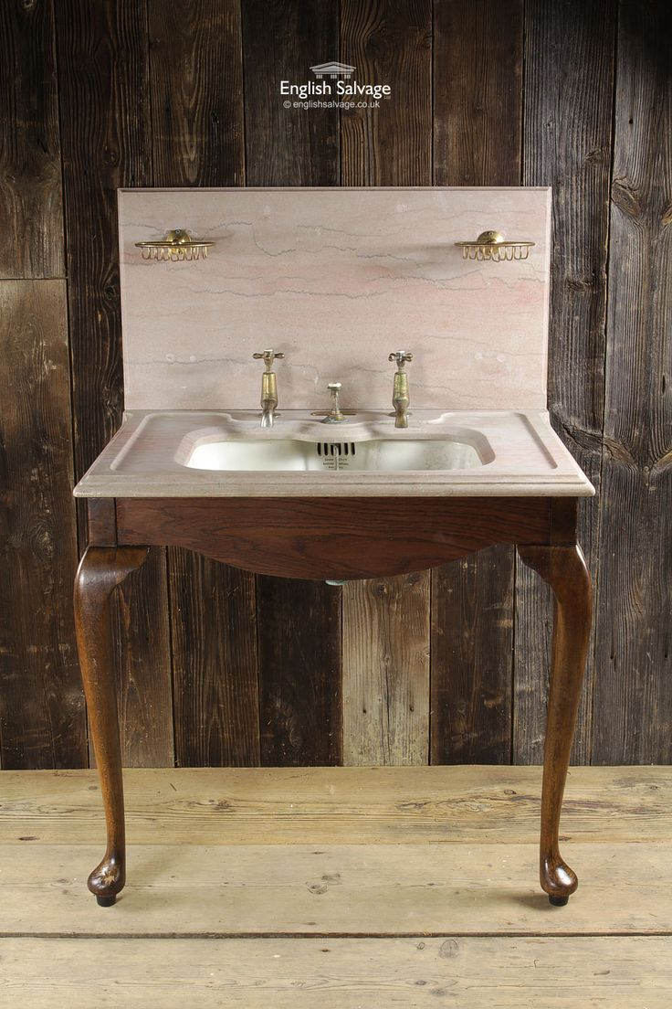 Shanks sink and stand reclaimed porcelain sinks and chrome stands - Shanks Basin With Rogue Surround On Wood Base