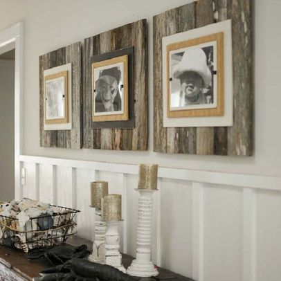 Reclaimed wood frames- would love in the kids bathroom
