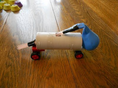 *Building Balloon Powered Racers- (need to use smaller balloons and a wider wheel base)