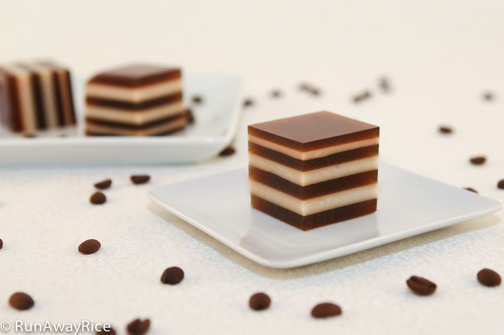 Vietnamese - Thạch Cà Phê - Coffee & coconut cream agar gelatin dessert. Condense milk or half and half may be substituted for coconut cream. Vegan alternative to Jell-O.