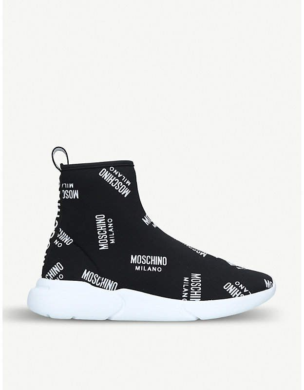 299d228681572 Moschino Logo-detail sock trainers