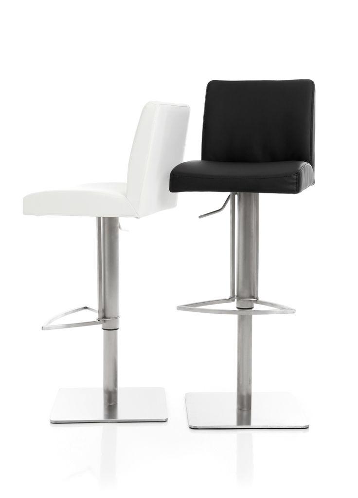 Darby - Höj- och sänkbar barstol med mjuk stoppad sits i konstläder och underrede i borstat stål.