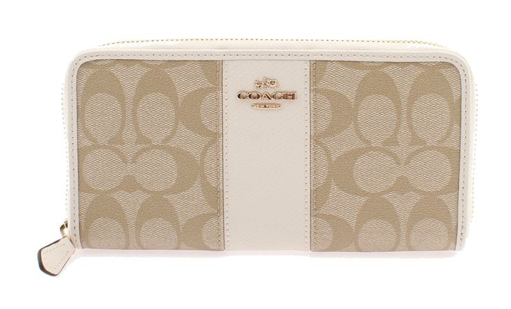 Coach Signature PVC Leather Accordian Zip Wallet F54630 Light Khaki/Chalk