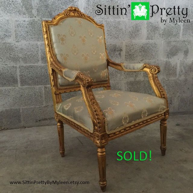 SOLD* Antique French Louis XVI 1 Chair Gold Leaf Gild Green Silver Damask  Fabric Fauteuil