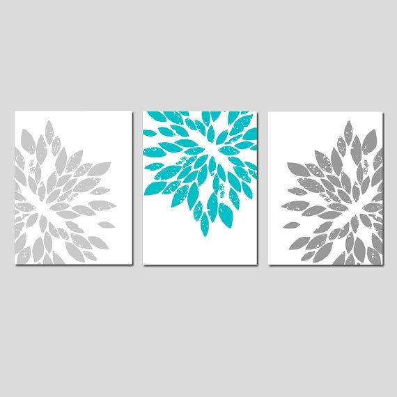 TEEN GIRL Room Decor CANVAS Wall Art Turquoise and Grey by Tessyla