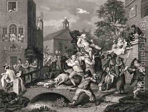 William Hogarth:Scene in Bridewell plate IV from A Harlots Progress from The Works of William Hogarth